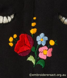 Flower Motif from Black Tablecloth with Hungarian Embroidery belonging to Elizabeth Hooper