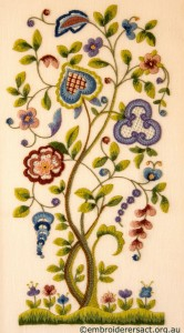 Jacobean Crewel Tree with Flowers stitched by Barbara Adams
