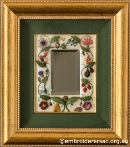 Jane Nicholas Mirror 2 in frame stitched by Lorna Loveland