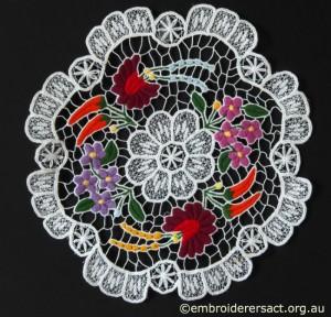 Kalocsa Hungarian Embroidery Doyley belonging to Elizabeth Hooper