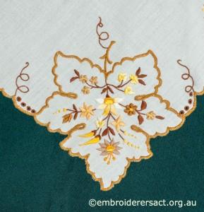 Leaf Detail from Tablecloth with Hungarian Embroidery belonging to Elizabeth Hooper