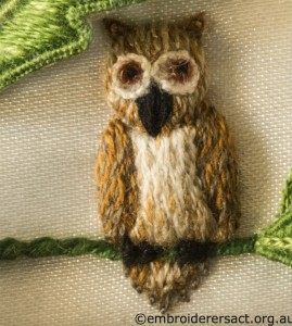 Owl from Jane Nicholas Mirror 2 stitched by Lorna Loveland