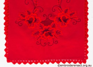 Red on Red Table Runner with Hungarian Embroidery belonging to Elizabeth Hooper