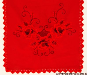 Red on Red Tablerunner with Hungarian Embroidery 2 belonging to Elizabeth Hooper