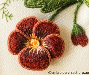 Rust Flower from Jane Nicholas Mirror 2 stitched by Lorna Loveland