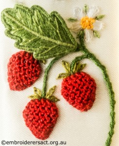 Strawberries from Jane Nicholas Mirror 2 stitched by Lorna Loveland