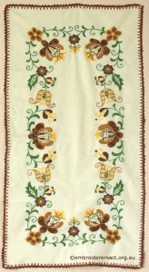 Tablerunner with Brown and Gold Hungarian Embroidery belonging to Elizabeth Hooper
