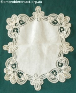 Tape Lace Doyley made by Margaret Thompson