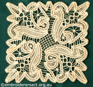 Tape Lace Square stitched by Margaret Thompson