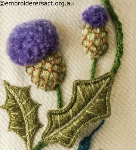 Thistle from Jane Nicholas Mirror 2 stitched by Lorna Loveland