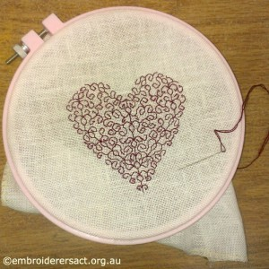 Blackwork Heart in progress by Sarah Kimmorley