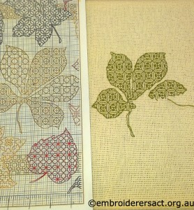 Blackwork Leaf in progress by Kerry Neale