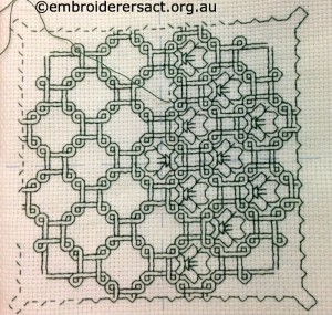 Blackwork in progress by Cathy Fetherston