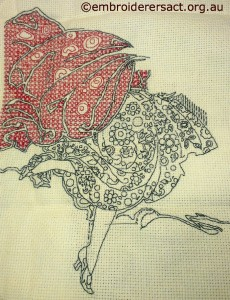Blackwork in progress by Susan Coates