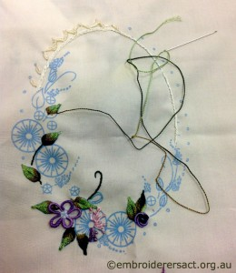 Brazilian Embroidery in progress stitched by Kay Reid