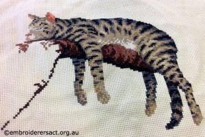 Cat x stitch in progress by Joyce Lynch