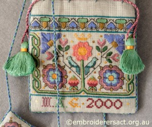Close up of Elizabehan Sweet Bag stitched by Marjorie Gilby