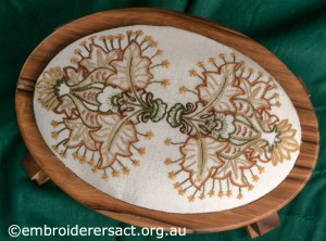 Crewel work Stool with Autumn Leaves by Marjorie Gilby