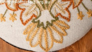Detail 2 of Crewel work Stool with Autumn Leaves by Marjorie Gilby