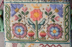 Detail 2 of Elizabethan Sweet bag stitched by Marjorie Gilby