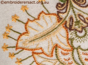 Detail of Crewelwork Stool with Autumn Leaves by Marjorie Gilby