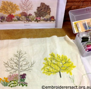 Diana Lampe design with Wattle stitched by Janice