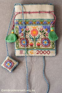 Elizabethan Sweet Bag stitched by Marjorie Gilby