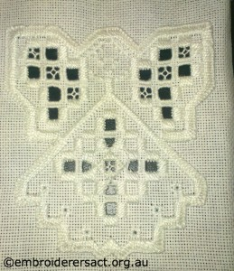 Finished Hardanger Angel by Sharon Burrell