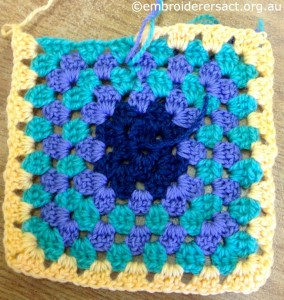 Granny Square in Progress by Dimity Manton