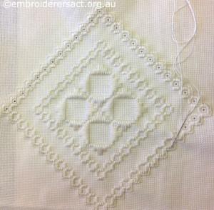 Hardanger Diamond in Progress stitched by Trish Hyland