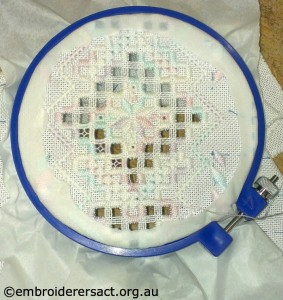 Hardanger Music Box Lid in progress by Elvi McCann