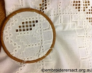 Hardanger in hoop stitched by Meryl Fellows