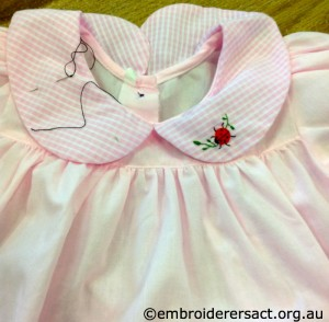 Pink Baby Dress with Ladybug stitched by Julie Knight