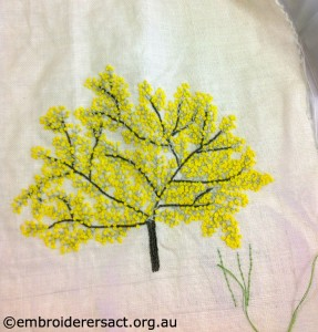 Wattle detail from Diana Lampe design stitched by Janice