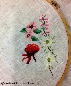 Wildflower x stitch in progress by Leonie Hunt