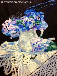 Wool Embroidery of Hydrangeas stitched by Gail Haidon