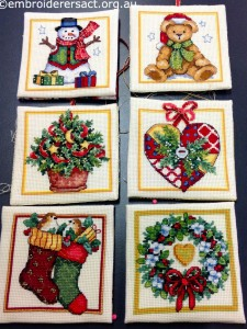 Xmas Squares stitched by Helen Nastopoulus
