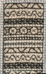 Close-up of Blackwork Panel on Woman in Coat by Marjorie Gilby