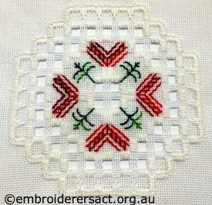 Close up of Ornament 11 stitched by Jillian Bath