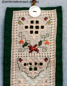 Detail 1 of Hardanger Needle Roll stitched by Jillian Bath