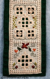 Detail 2 of Hardanger Needle Roll stitched by Jillian Bath
