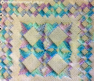 Detail 3 of Acqua and Mauve Hardanger Square stitched by Levona Lea
