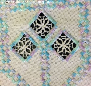 Detail 4 of Acqua and Pink Hardanger Square stitched by Levona Lea