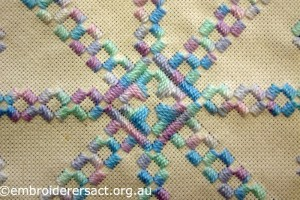 Detail from Pink and Acqua Hardanger Square by Levona Lea