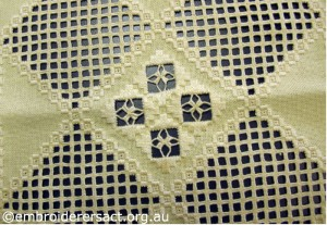 Detail of Central Motif in White Hardanger Square by Levona Lea