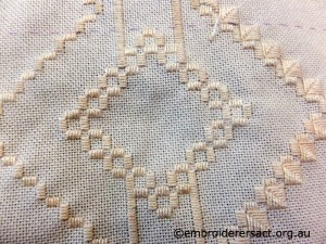 Detail of Hardanger in progress stitched by Marion Hendy