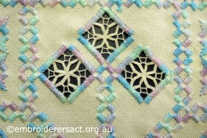 Detail of motif on Pink and Acqua Hardanger Square by Levona Lea