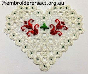 Hardanger Christmas Ornament 10 stitched by Jillian Bath