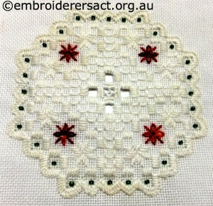 Hardanger Christmas Ornament 5 stitched by Jillian Bath
