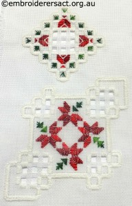 Hardanger Christmas Ornament 7 stitched by Jillian Bath